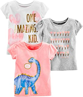 6bad5e0f54635 Simple Joys by Carter's Toddler Girls' 3-Pack Short-Sleeve Graphic Tees