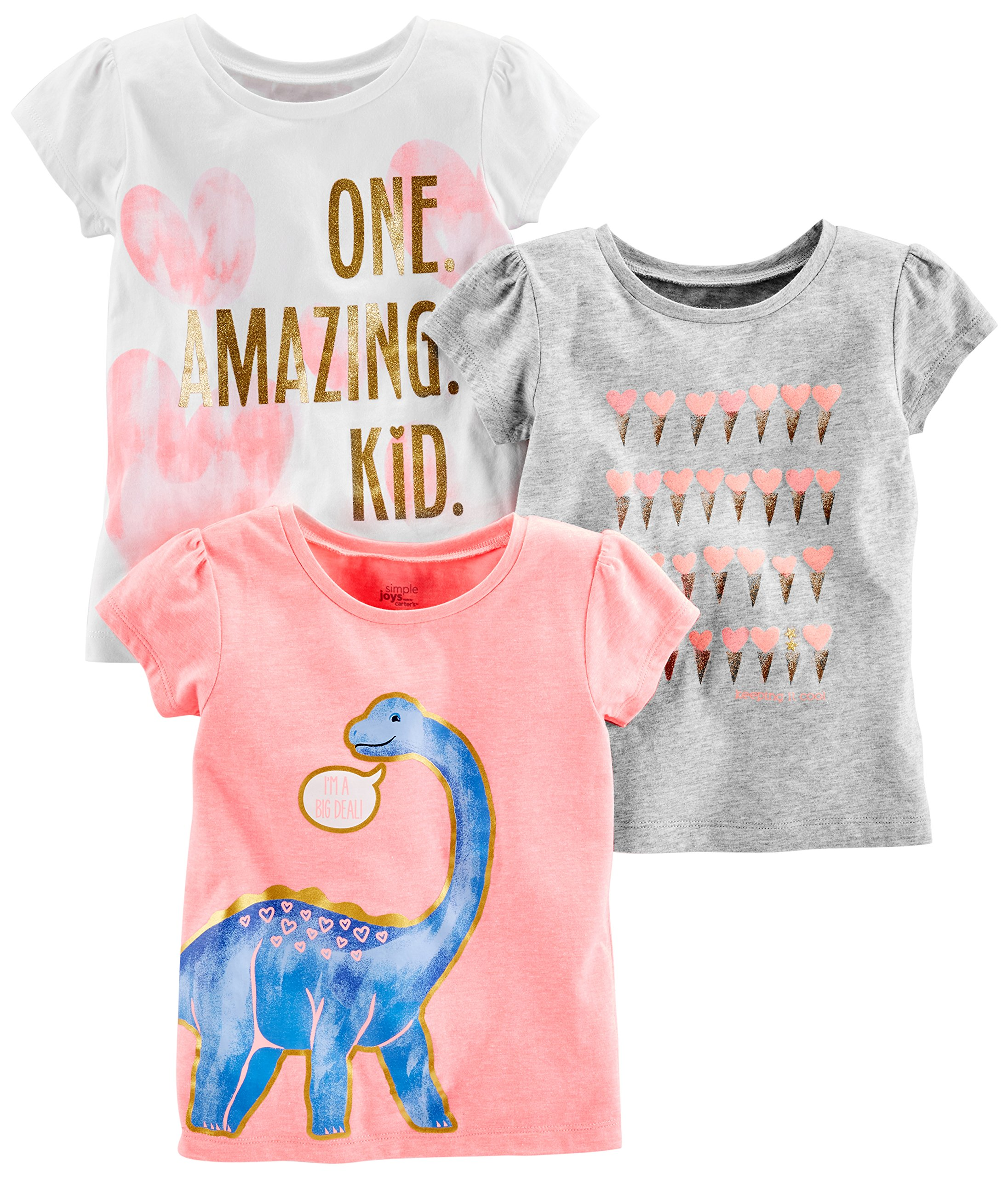 Simple Joys by Carter's Baby Girls' Toddler 3-Pack Graphic Tees, Pink Dino, Gray, White Heart, 3T