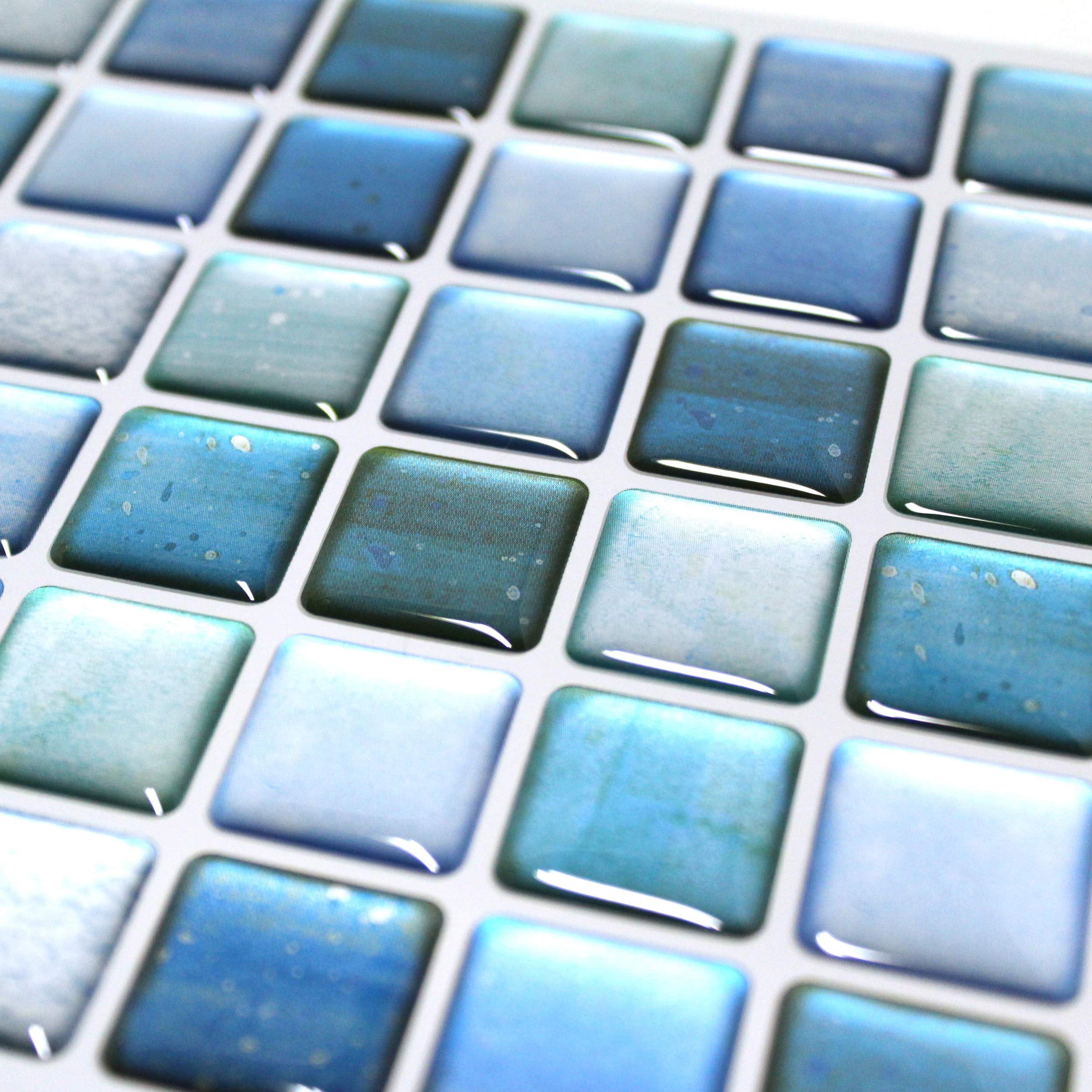 BEAUSTILE Decorative Tile Stickers Peel and Stick Backsplash Fire Retardant Tile Sheet (N.Blue) (10, 5.28'' x 14.8'') by BEAUS TILE (Image #3)