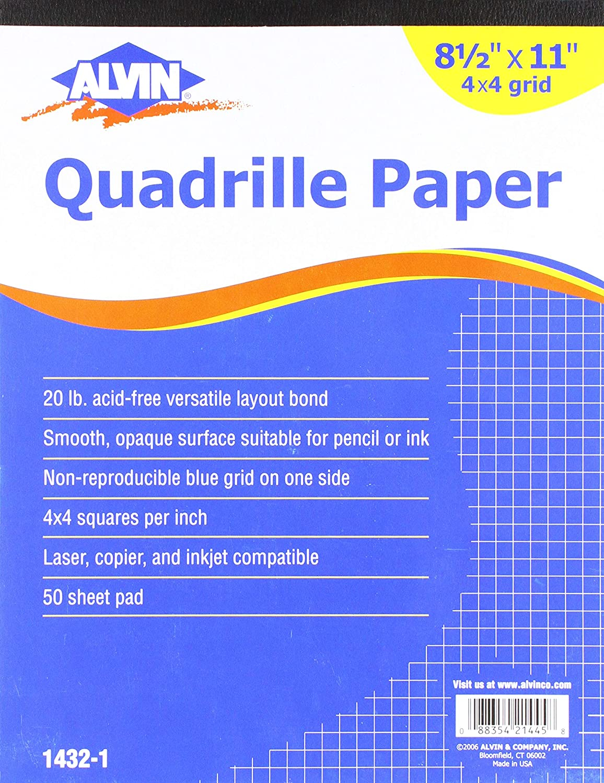 Alvin Quadrille Paper 4x4 Grid 50-Sheet Pad 8.5 x 11 by Alvin 1432-1