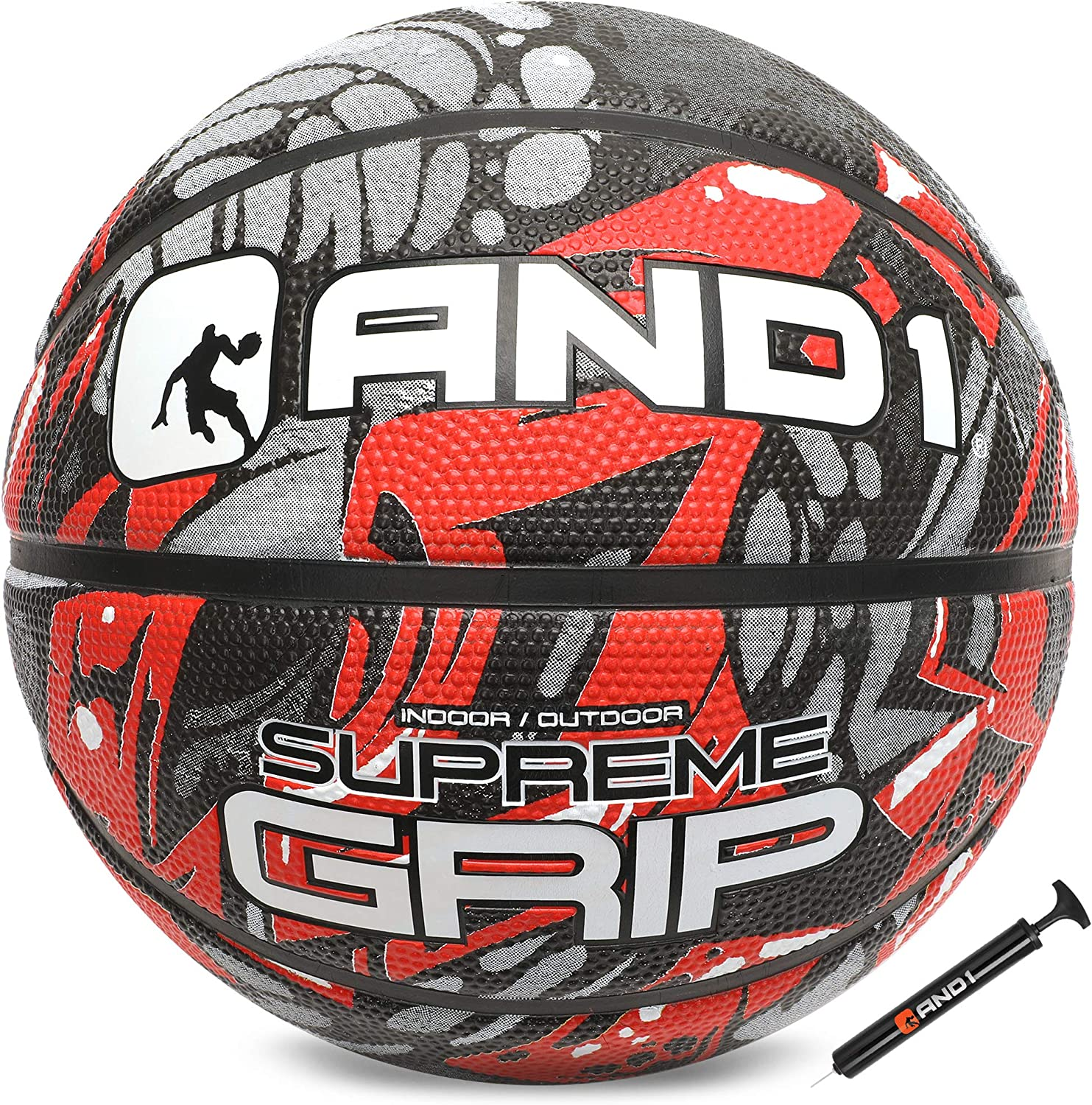 AND1 Supreme Grip Rubber Basketball for indoor and outdoor games