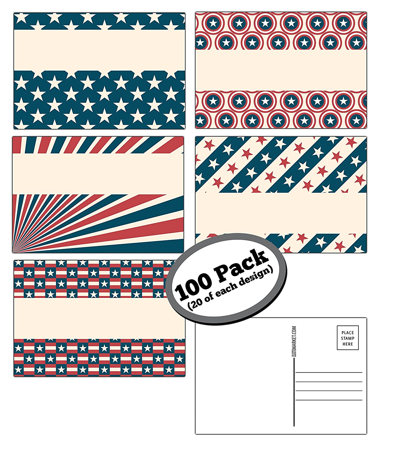 100 Pack of Blank Postcards. Each Post Card in This Patriotic, Bulk Set is 4 x 6, USPS Compliant (mailable), and USA Made. Mail to Voters to get Votes. Flip Side is Plain White and unused. (Variety) 91z1ZJv7AGL