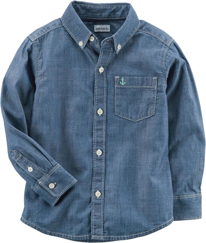 New Carter/'s Ape Boys Shirt Top Button Down Navy Blue Size 4,6,7,8,10,12,14