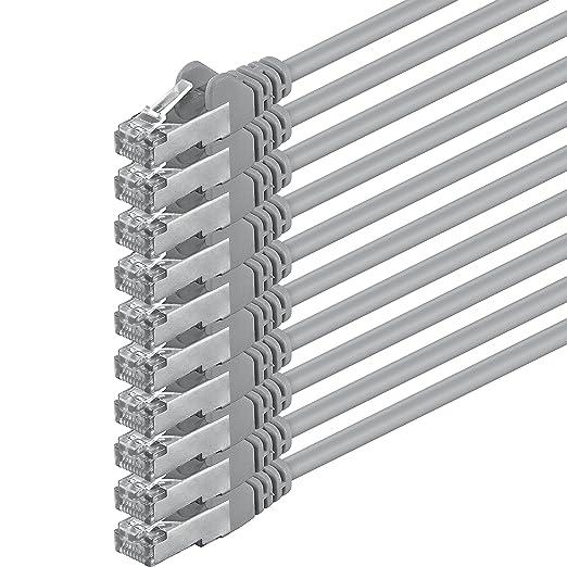 19 opinioni per 1aTTack CAT5 FTP- Cavo patch di rete con set di 2 spine RJ45, 10 pezzi grigio 2
