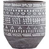 Rivet Modern Concrete Indoor Outdoor Planter Pot With Painted Accents - 5 Inch, Grey and White