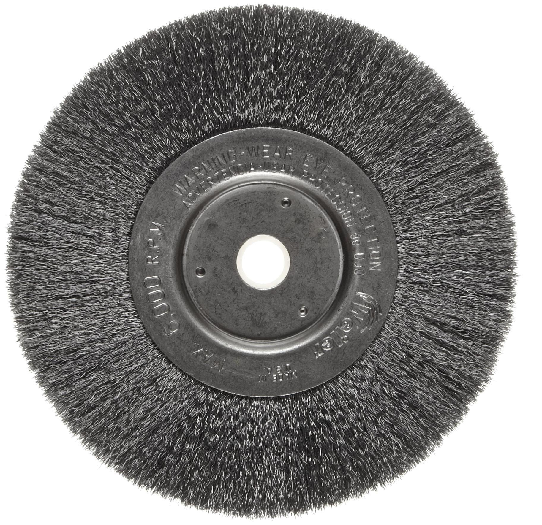 Weiler Trulock Narrow Face Wire Wheel Brush, Round Hole, Steel, Crimped Wire, 6'' Diameter, 0.006'' Wire Diameter, 5/8-1/2'' Arbor, 1-7/16'' Bristle Length, 3/4'' Brush Face Width, 6000 rpm