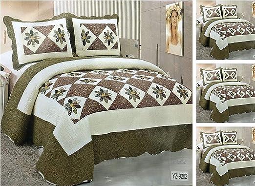 Bluemoon Patchwork 100% algodón juego de colcha con fundas de almohada cama Manta para cama de matrimonio y king ...