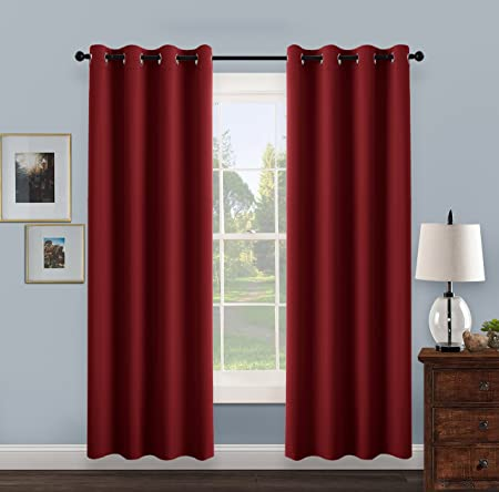 PONY DANCE Thermal Insulated Eyelet Blackout Curtains 52 In W 95 L Red
