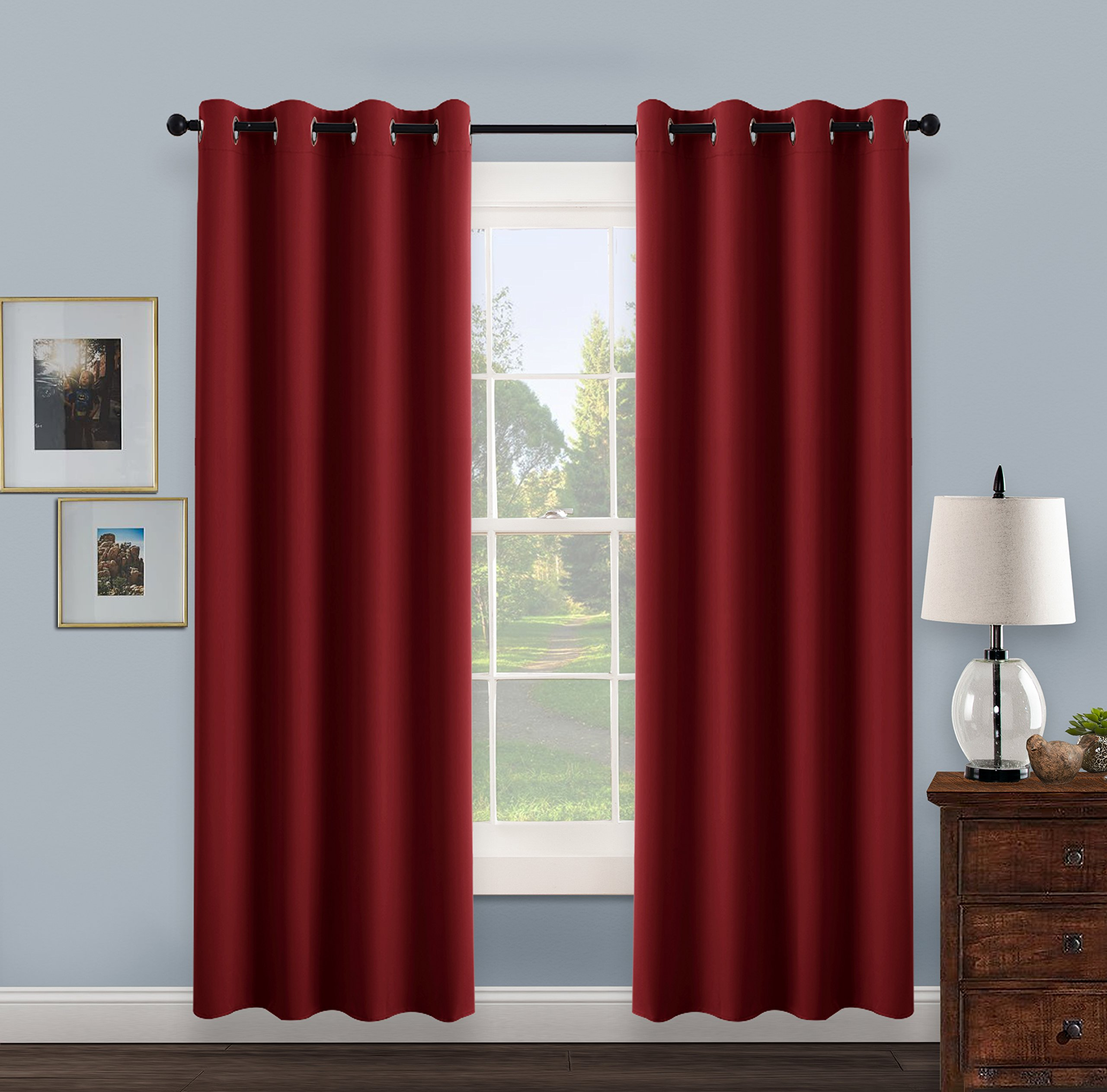 PONY DANCE Thermal Insulated Eyelet Blackout Curtains (52 In W 95 L, Red,