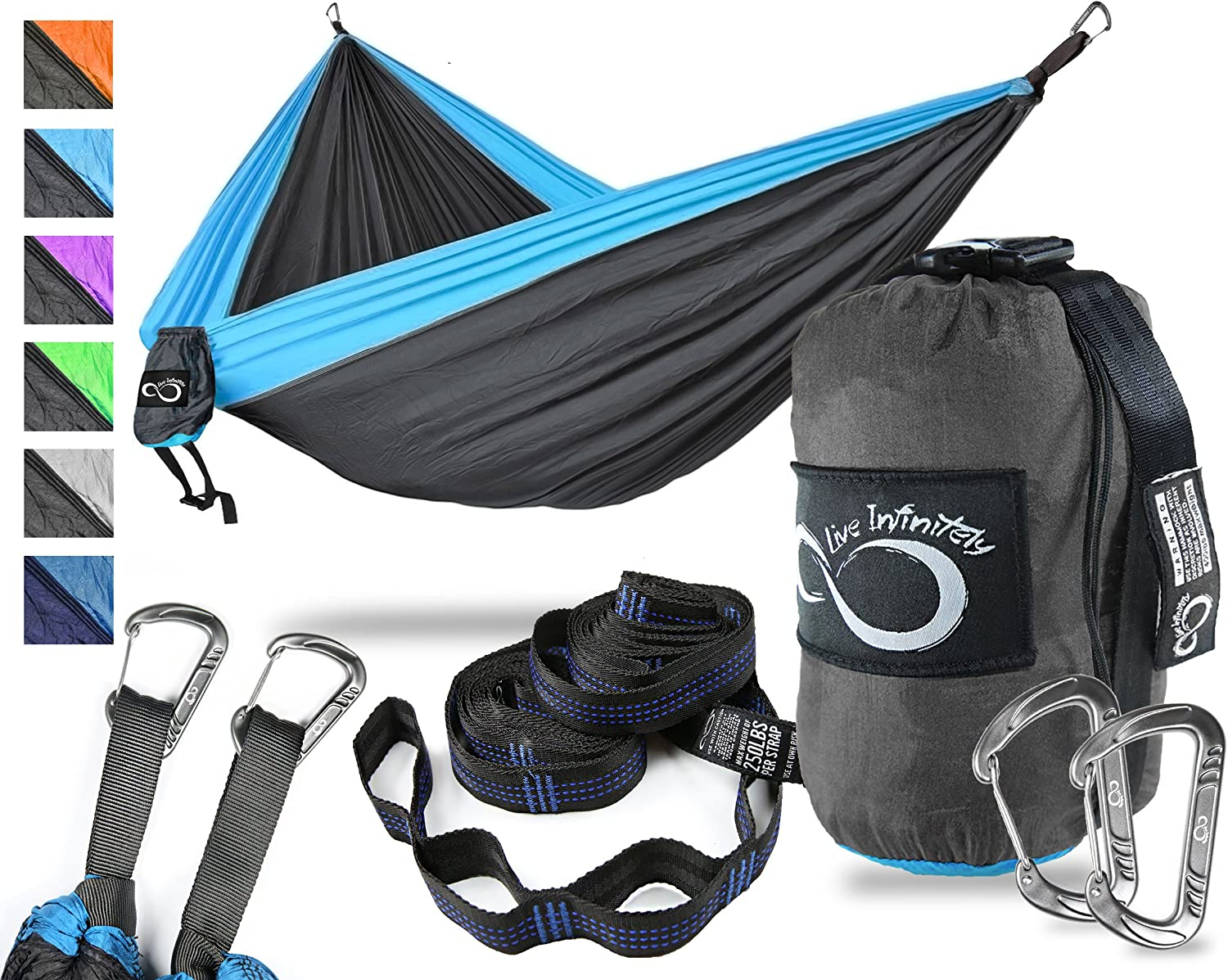Fits easily in backpack Hunting Strong Traveling Fishing /& Lightweight Portable Outdoor Single One Person Compact Nylon Camping Hammock With Straps /& Steel Carabiners Ideal for Day Hiking