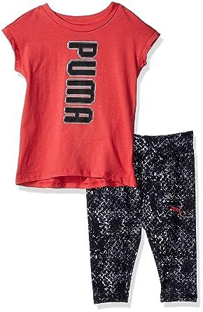 dc64b105f45487 Amazon.com  PUMA Girls  2 Piece Tee   Capri Set  Clothing