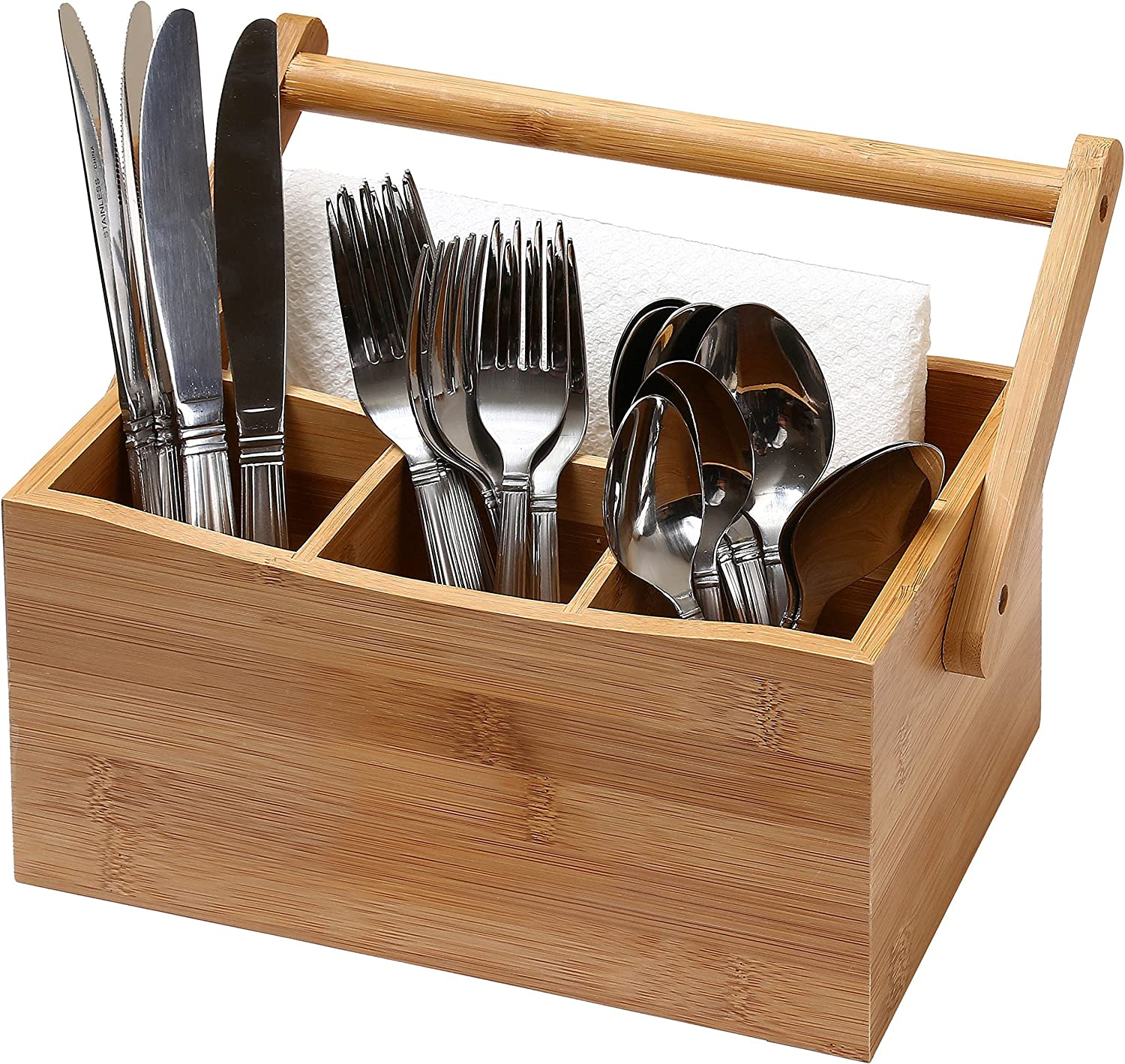 YBM Home Bamboo Flatware Utensil Caddy with Napkin Holder and Handle, Wood Picnic Basket for Kitchen and Camping Trip, 336
