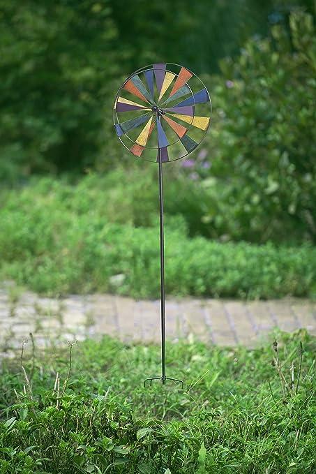 Sunjoy Large Kinetic Windmill Iron Garden Stake, Multicolored