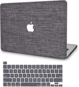 MacBook Pro 13 Inch Case 2020 2019 2018 2017 2016 A2289 A2251 A2159 A1706 A1989 A1708, G JGOO Soft Touch Fabric Hard Shell Cover Case with Keyboard Cover for Mac Pro 13 with/Without Touch Bar, Grey