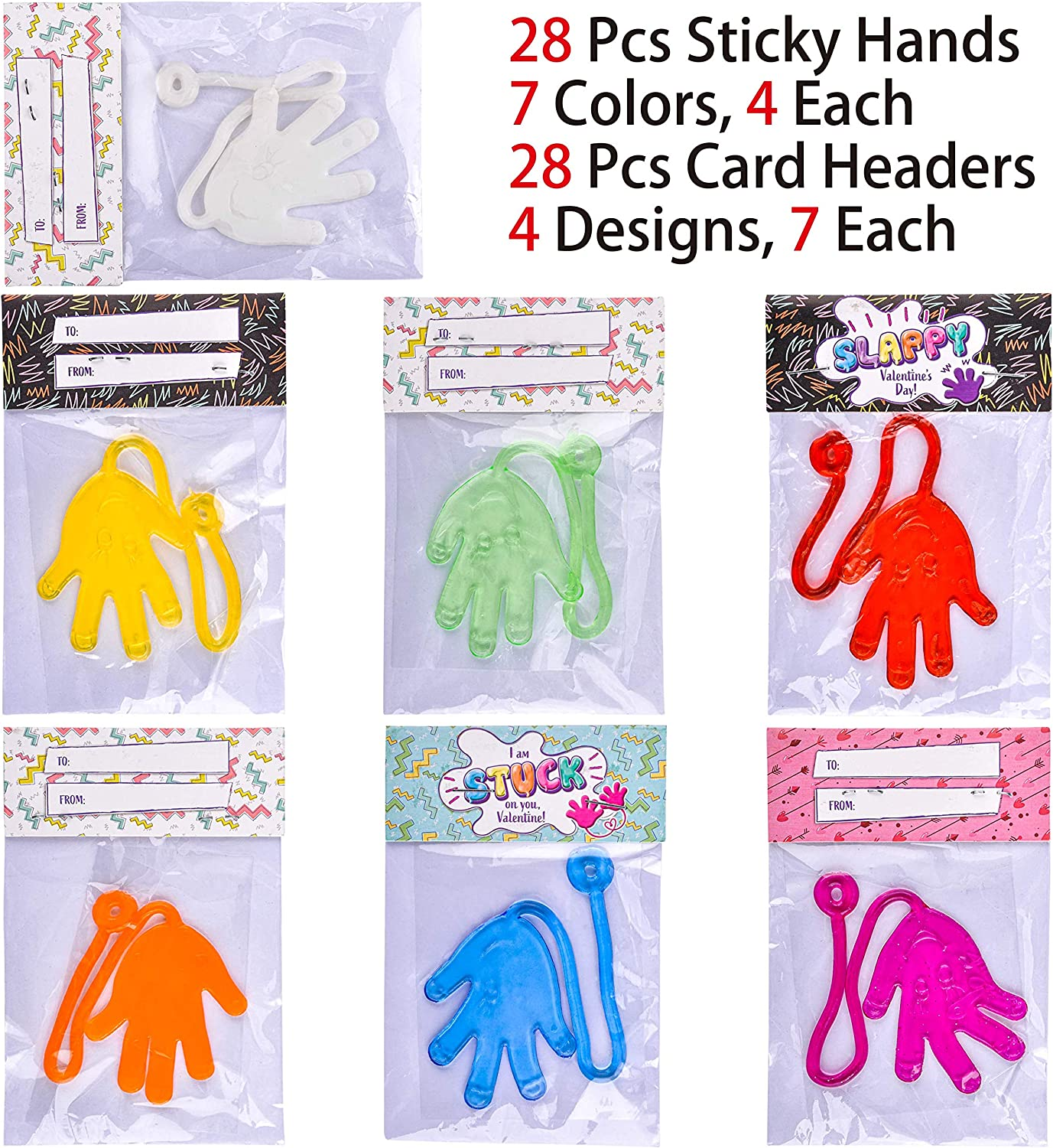 Valentine Party Favors Valentine Exchange Gifts JOYIN 28 Packs Sticky Hands with Card Headers for Kids Party Favor Valentine/'s Greeting Cards Classroom Exchange Prizes