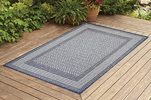 Benissimo Indoor Outdoor Rug Tile Collection, Natural Sisal Woven and Jute Backing Area Rugs for Living Room, Bedroom, Kitchen, Entryway, Hallway, Patio, Farmhouse Decor 6×9, Navy