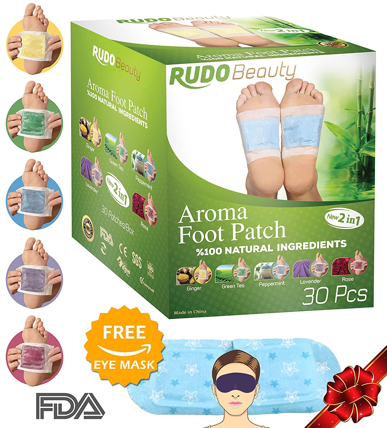 Rudo Beauty Foot Pads Aromatherapy Pain Relief Fda 10 Box Kinoki Gold Ginger Certified 30 Pack Improved 2in1 And Body Patches Remove Toxins Health Personal