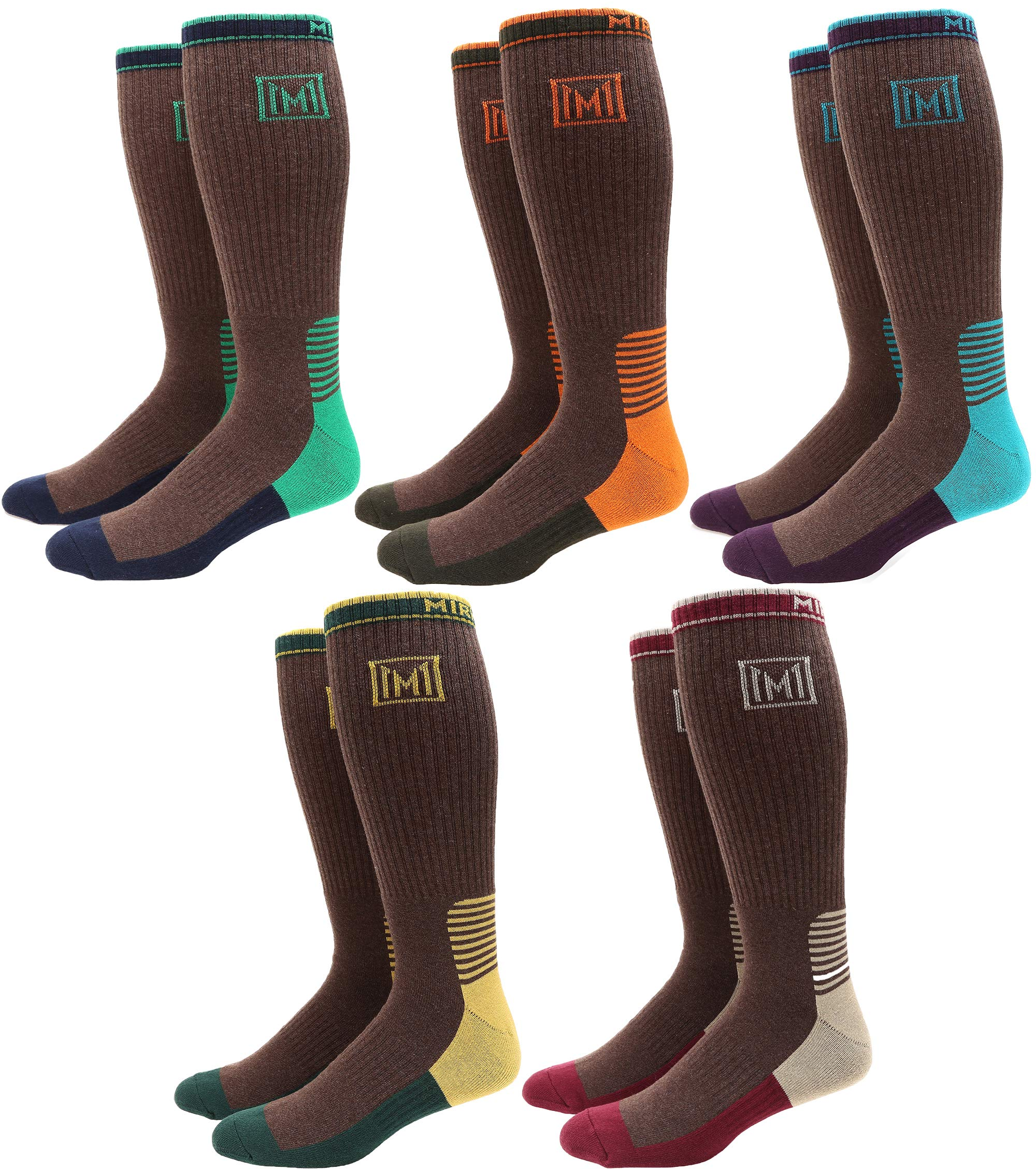 MIRMARU Men's 5 Pairs Multi Performance Over the Calf Outdoor Athletic Cushion Socks (5Pairs-Brown) by MIRMARU