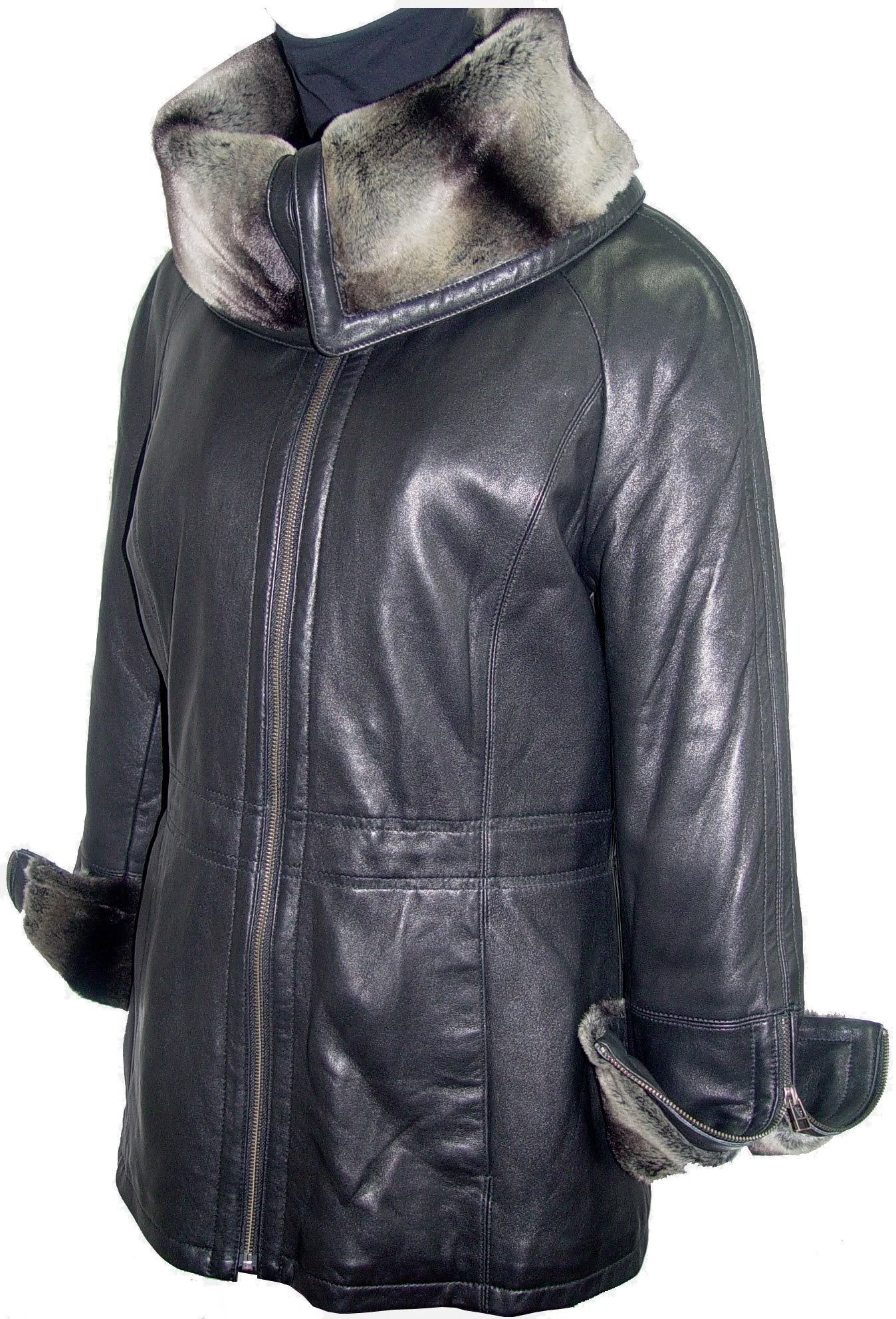 Paccilo 5008 Women Hooded Leather Coats Fake Fur The Parka Fine Soft Lamb by Paccilo (Image #6)