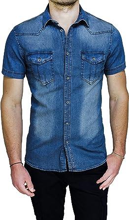 Evoga - Camisa Vaquera de Hombre de Manga Corta Azul Vaquero de Verano Slim Fit: Amazon.es: Ropa y accesorios