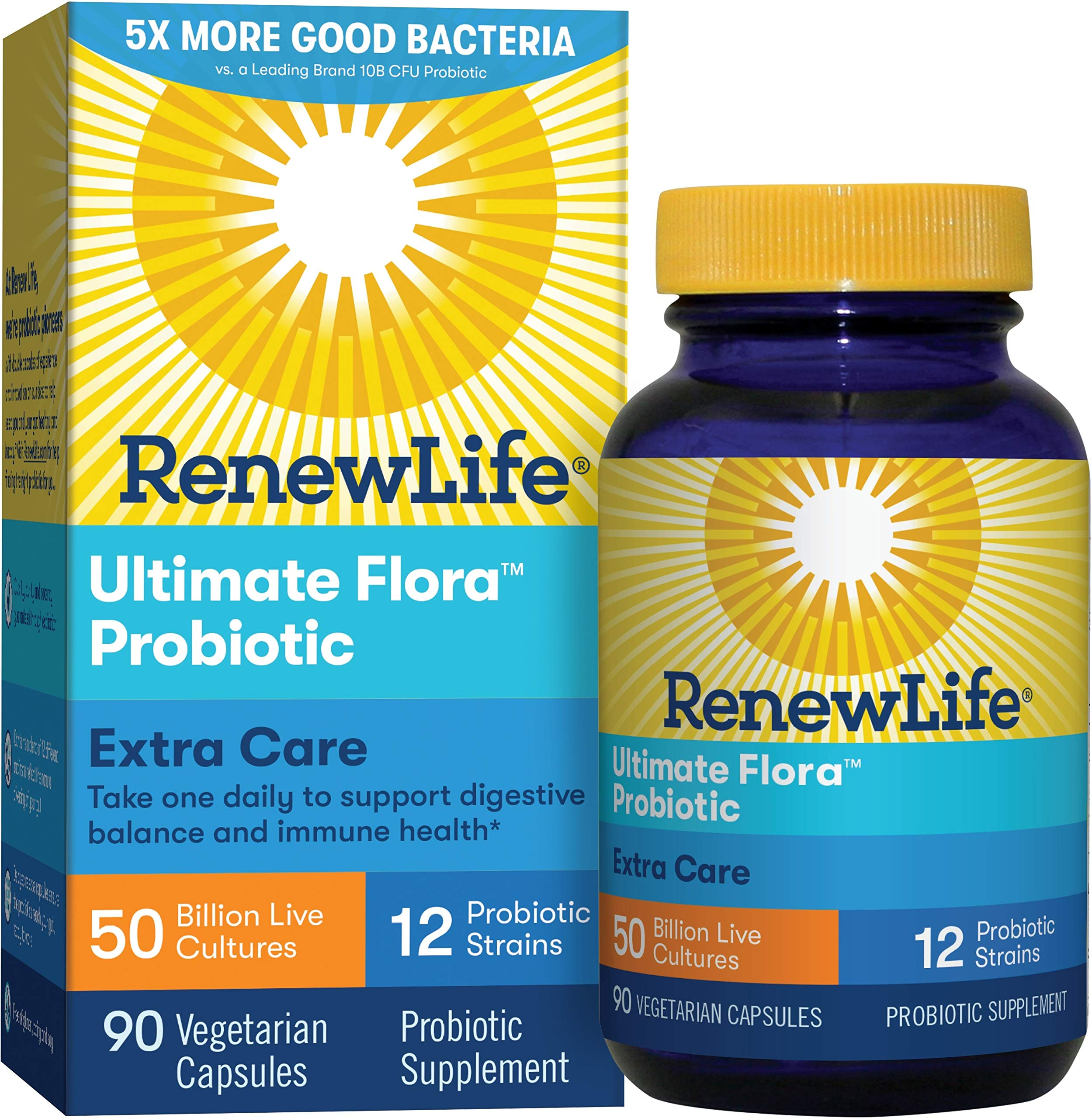 Renew Life Adult Probiotic - Ultimate Flora Extra Care Probiotic Supplement - Gluten, Dairy & Soy Free - 50 Billion CFU - 90 Vegetarian Capsules by Renew Life