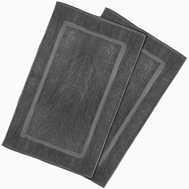Utopia Towels 21-Inch-by-34-Inch Washable Cotton Banded Bath Mat, 2 Pack, Dark Gray
