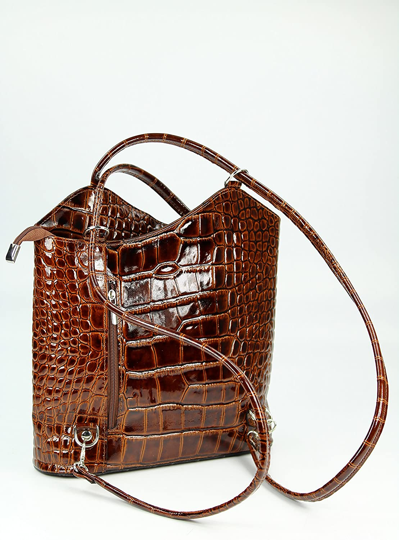 Belli italienische Ledertasche Backpack Classic 2in1 Damen Rucksack Leder Handtasche Schultertasche - 28x28x8 cm (B x H x T) Cognac Lack