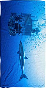 Bisead 30×60 Inch Beach Towel,White Great Shark Swims Around Cage,Large Absorbent Quick Dry,Beige Pink