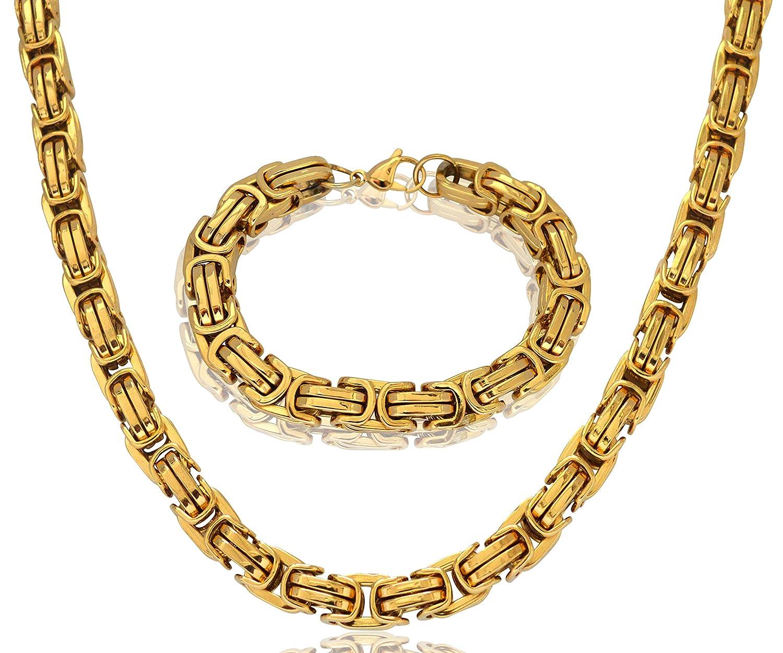 thb Richter, bracciale da uomo in acciaio inox e collana, maglia bizantina, spessore di 12mm, colore giallo-oro colore: gold cod. K-1109-02 W-BZD