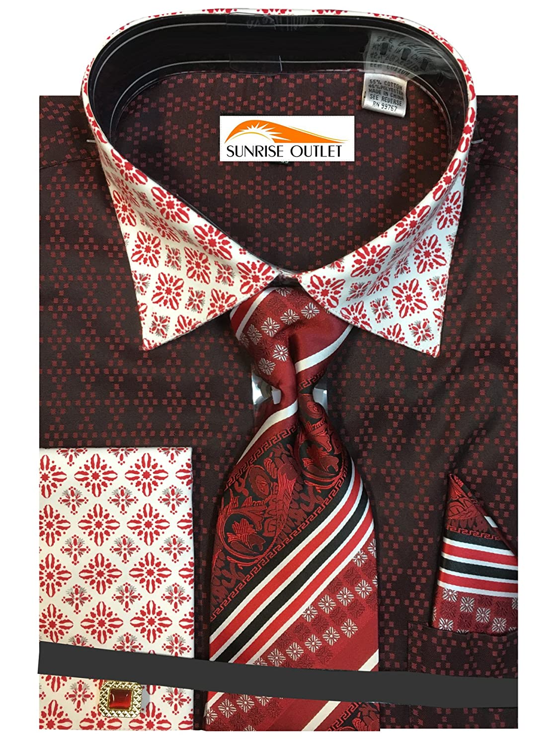 Men's Two Tone Contrasting Diamond Pattern Dress Shirt with Tie Hanky and Cufflinks NTP-DN69M