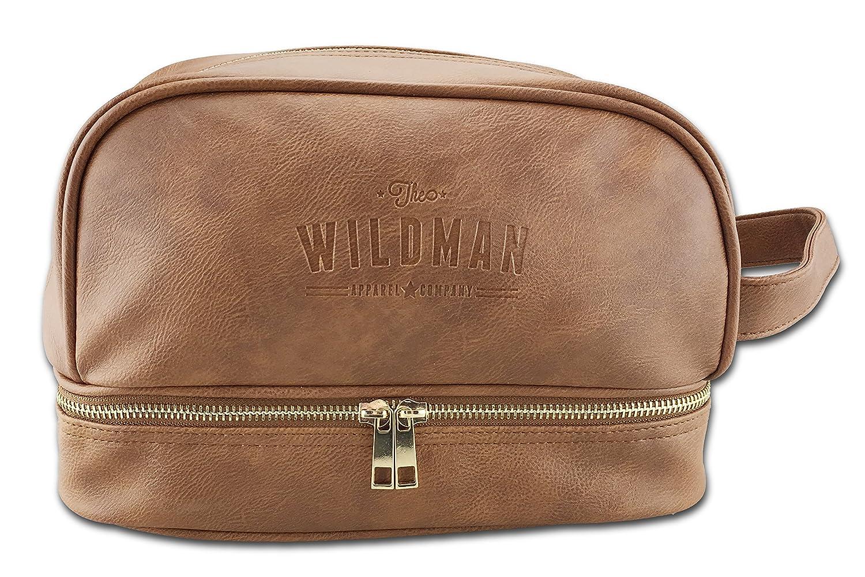 Toiletry Travel Bag Dopp Kit, Shaving Bag, Travel Organiser with Hidden Pocket for Valuables brown