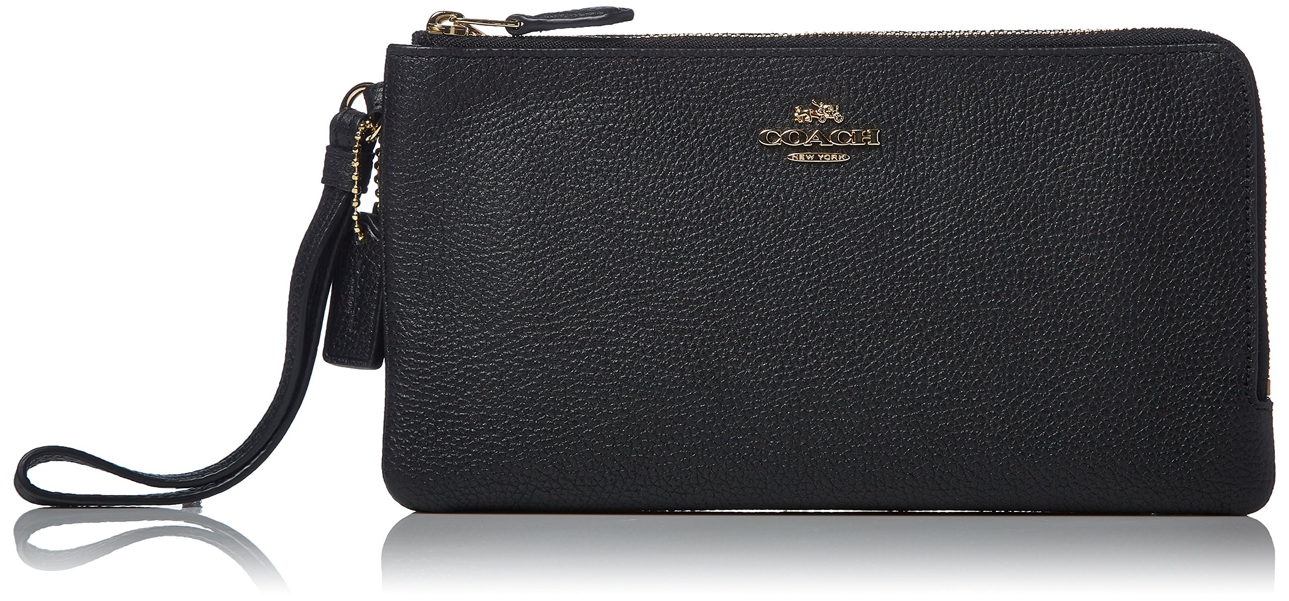 COACH Women's Polished Pebbled Double Zip Wallet LI/Black Checkbook Wallet by Coach