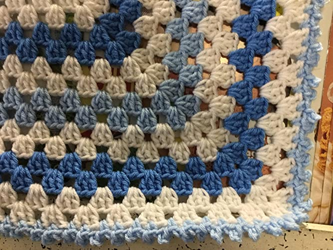 00013d23503d4 Amazon.com: Hand Crocheted Blue and White Granny Square Afghan: Handmade