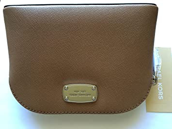 3497e3ad7bc7 Amazon.com  Michael Kors Cindy Small Travel Cosmetic Pouch Saffiano Leather  DK Khaki  Beauty