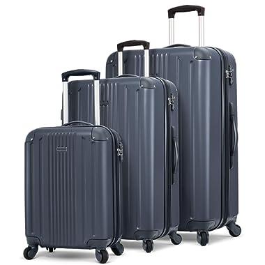 TravelCross Milano Luggage Expandable Lightweight Spinner Set (Dark Gray, 20'' + 24'' + 28'')