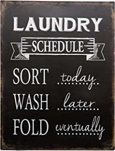 "Barnyard Designs Laundry Schedule Sign Sort Wash Fold Retro Vintage Tin Sign Laundry Room Country Home Decor 13"" x 10"""