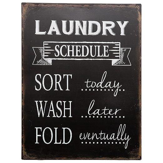 Barnyard Designs - Cartel de lavandería con Texto en inglés ...