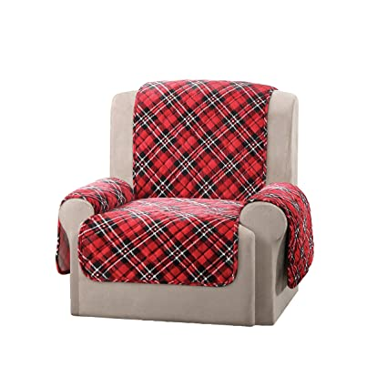 Captivating 1 Piece Red Black White Plaid Chair Protector, Hunting Themed Furniture  Protection Couch Cabin House