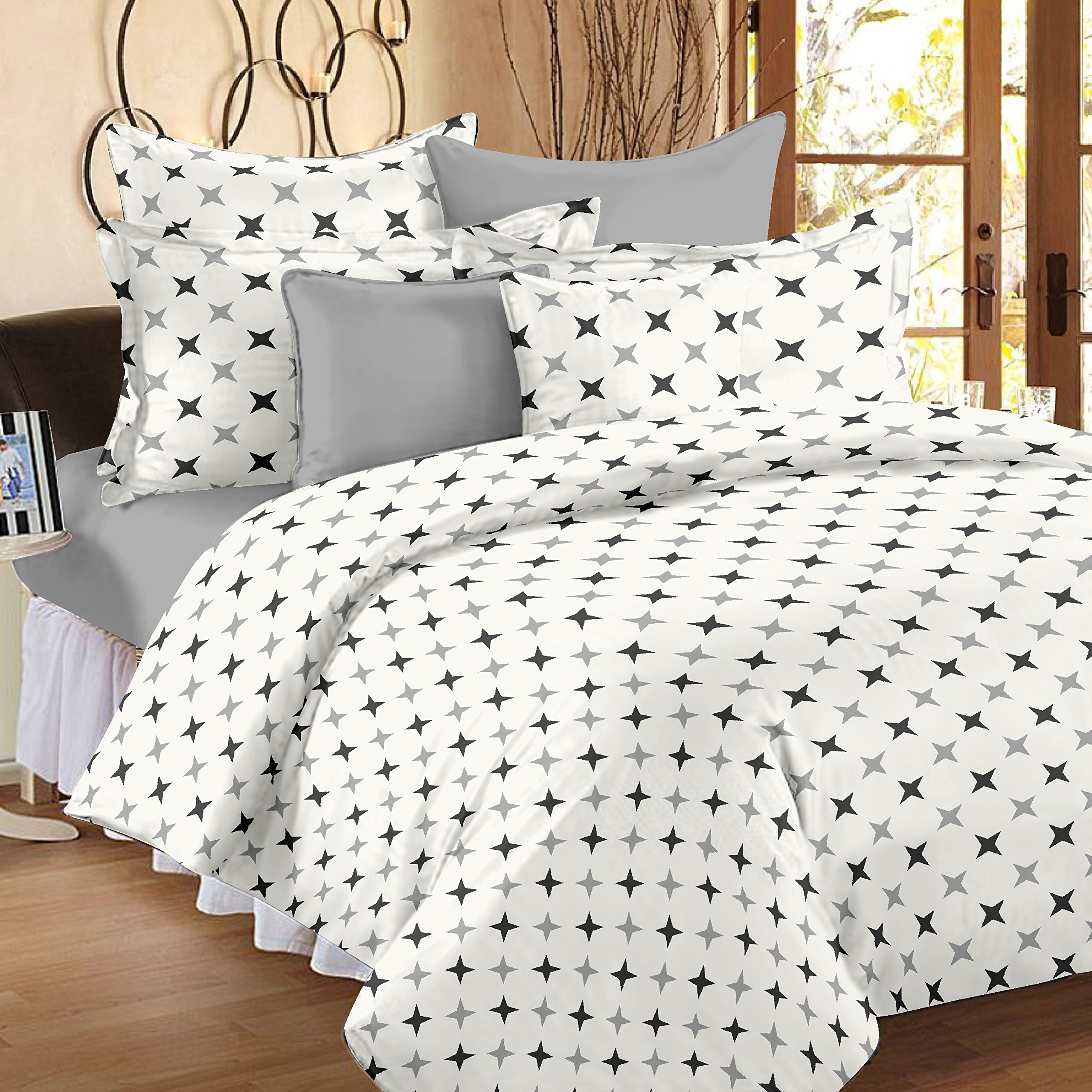 Ahmedabad Cotton Comfort 160 TC Double Bedsheet with 2 Pillow Covers - Geometric, White and Grey product image