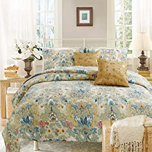 Cozy Line Home Fashions Luxury Classic Bedding Quilt Set, 100% Cotton Beige Blue Floral Pink Flower Bohemian Style Reversible Bedspread Coverlet Gifts for Women (Art Painting, King - 3 Piece)
