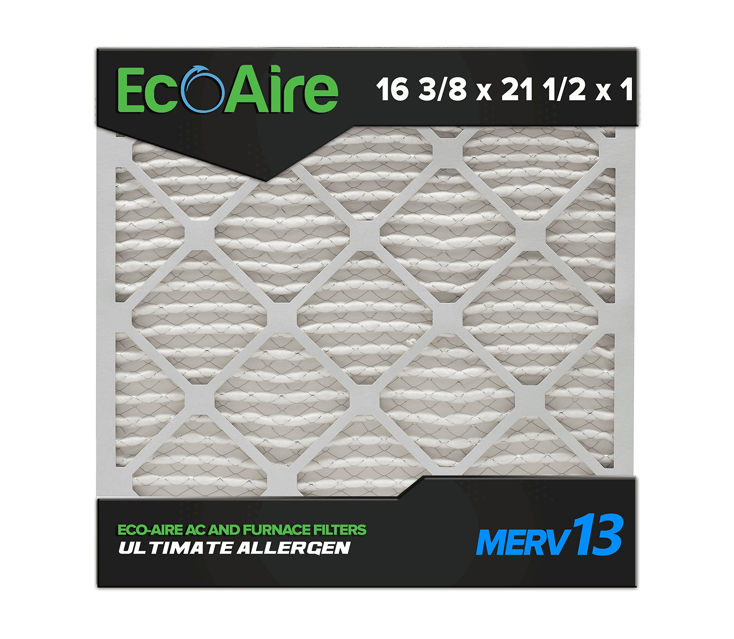 Eco-Aire 16 3/8x21 1/2x1 MERV 13, Pleated Air Filter, 16 3/8 x 21 1/2 x 1, Box of 6, Made in the USA