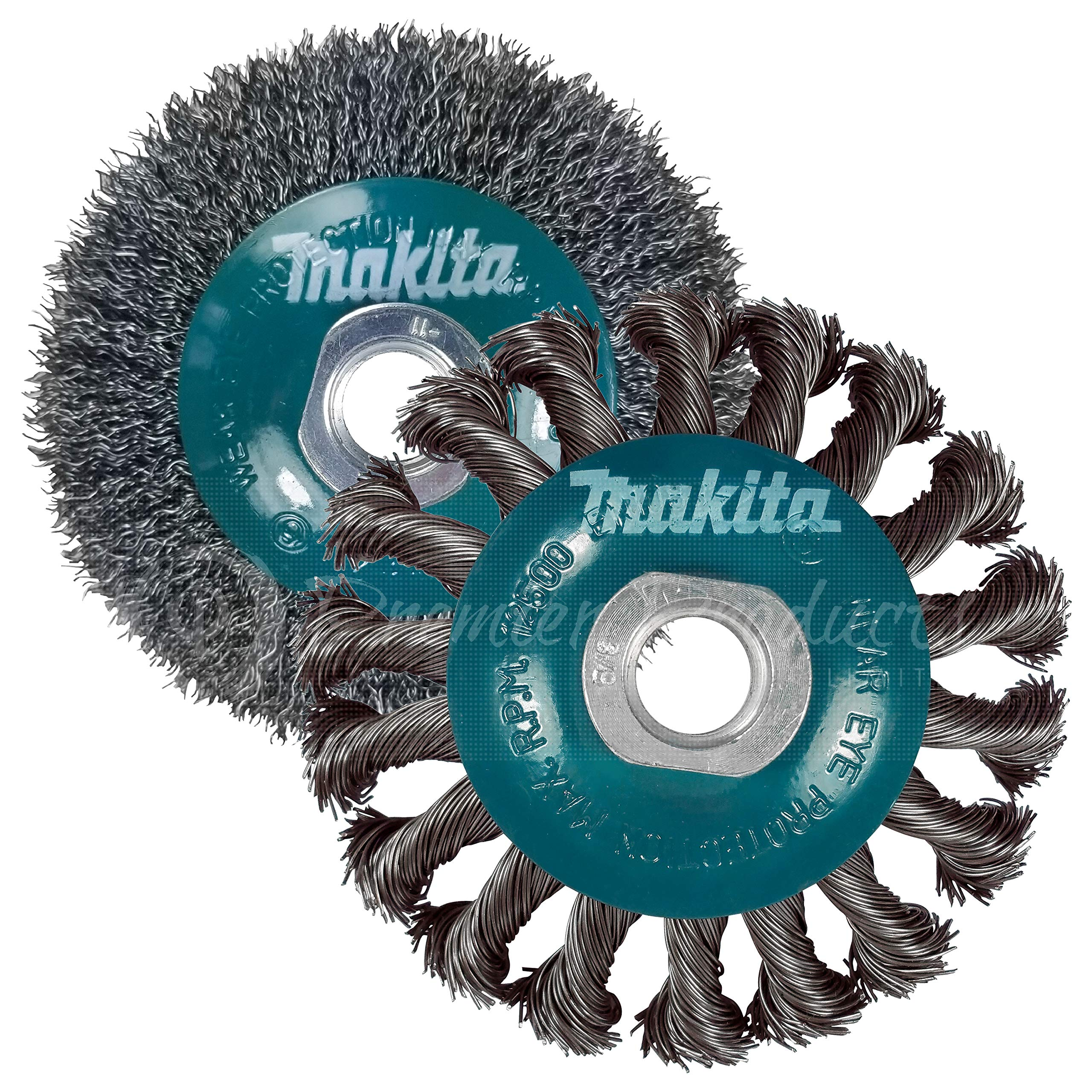 Makita 2 Piece - 4 Inch Crimped & Twist Wire Wheel Brush Set For 4.5'' Grinders - Complete Conditioning For Metal - 4'' x 5/8-Inch | 11 UNC