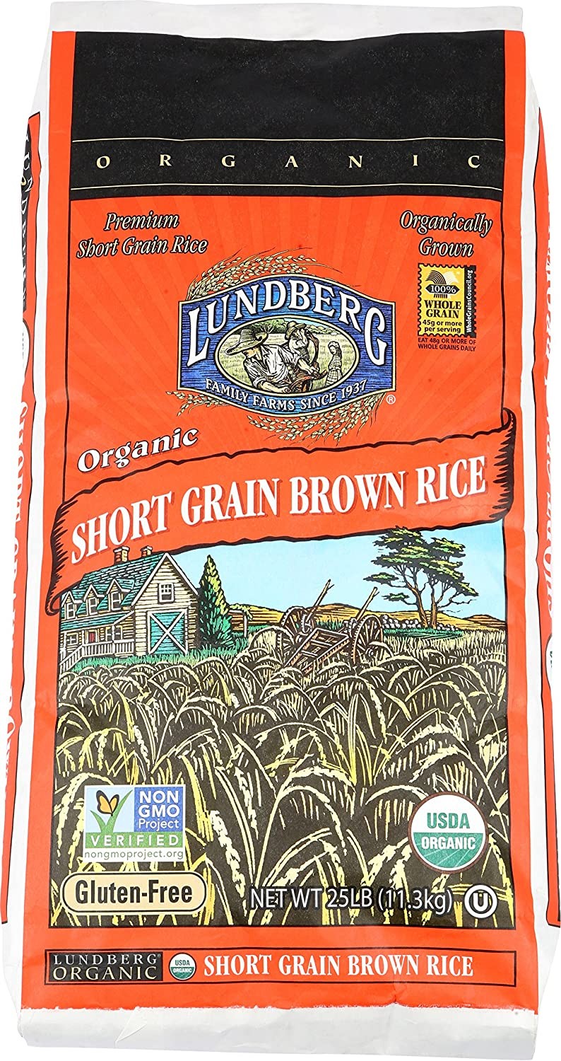 Lundberg Short Grain Brown Rice, 25 Pounds, Organic (Packaging May Vary)