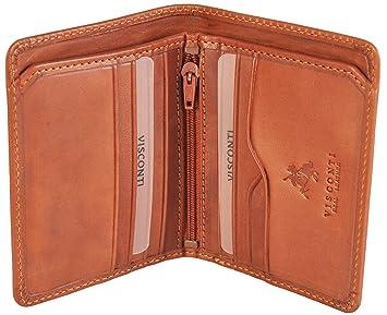 Visconti Monedero Luxus italiano de cuero marrón claro ...