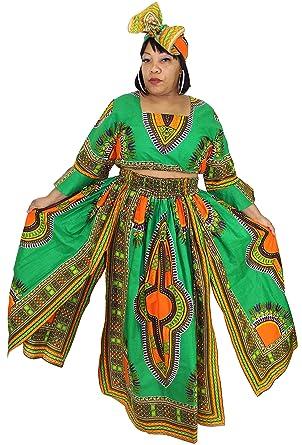 7fd9156bcecaf African Planet Women s 3 PC set Crop Top High Slit Elastic Waist Skirt  headwrap (Green