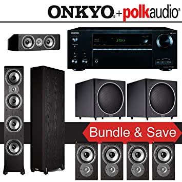 Amazon.com: Polk Audio TSi 500 7.2-Ch Home Theater System with Onkyo ...