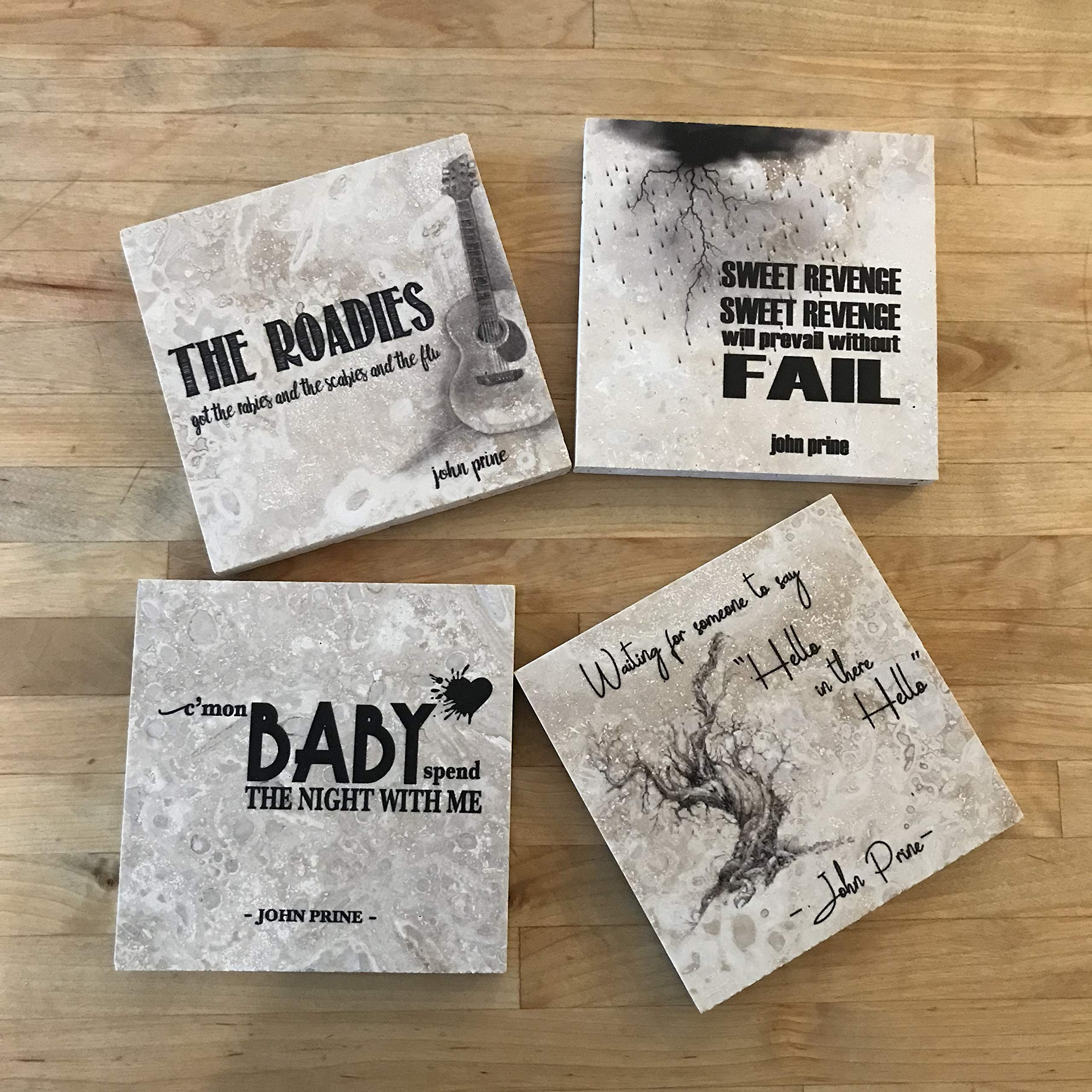 John Prine lyrics Coasters - Set of 4