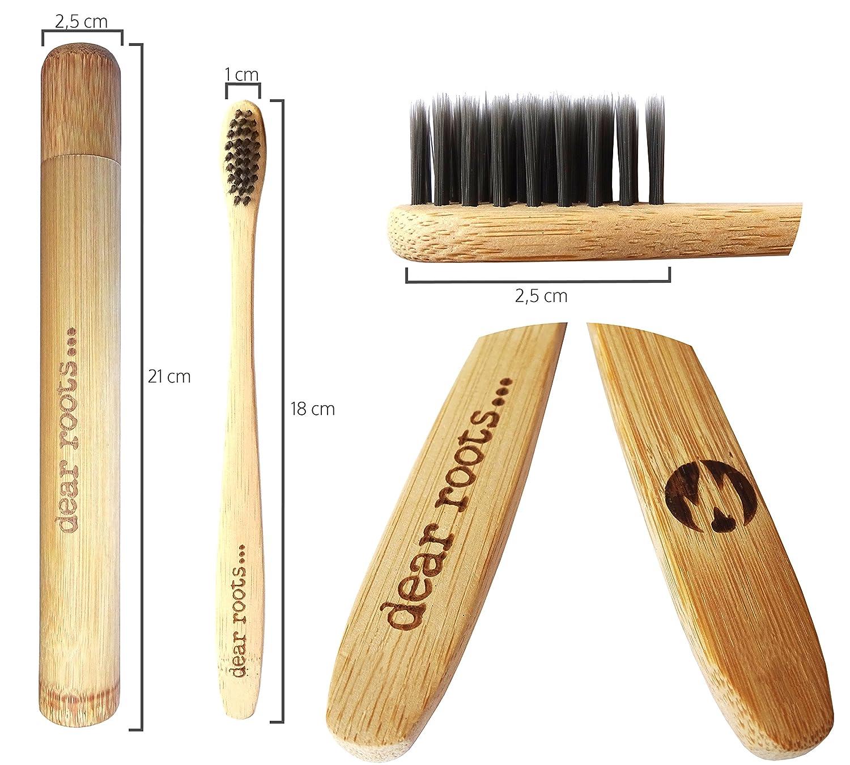Bambú Cepillo de dientes de 4 set de viaje con funda - Mano Cepillo de dientes con mango de madera de bambú 100% - biodegradable, Vegano) & sin BPA ...
