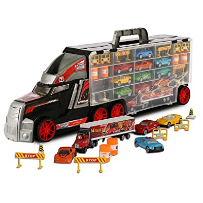 TOYTHRILL Super Transport Truck Carrier Toy - Plastic Transporter/Case - Includes 10 Die-Cast Mini Cars, Mini Semi-Truck, 16 Assorted Road Block Accessories - Holds Over 40 Cars: Toys & Games