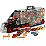 ToyThrill Super Transport Truck Carrier Toy – Plastic Transporter/Case – Includes 10 Die-Cast Mini Cars, Mini Semi-Truck, 16 Assorted Road Block Accessories – Holds Over 40 Cars! – by